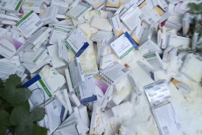 В Башкирии коробки с бракованными лекарствами бросили на улице