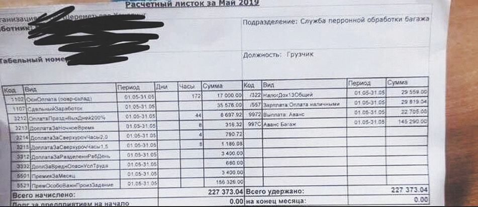 Зарплата 200 тысяч у грузчиков в Шереметьево: правда или нет, фото зарплатного листа