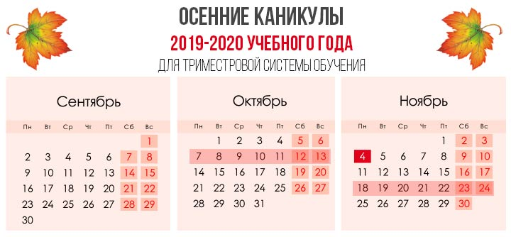 Осенние школьные каникулы в 2019 году: с какого по какое число, сколько дней