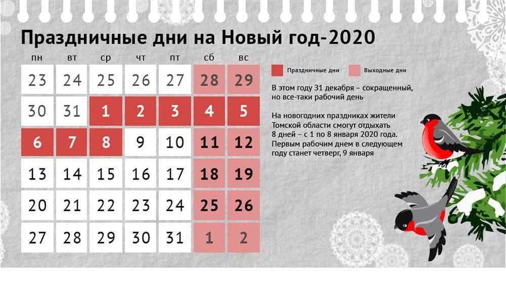 Сколько выходных будет на Новый год 2020: информация от Роструда